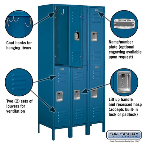 "Salsbury 12"" Wide Double Tier Standard 6 ft High x 18"" Deep Metal Locker 62368 - USA Safe And Vault"