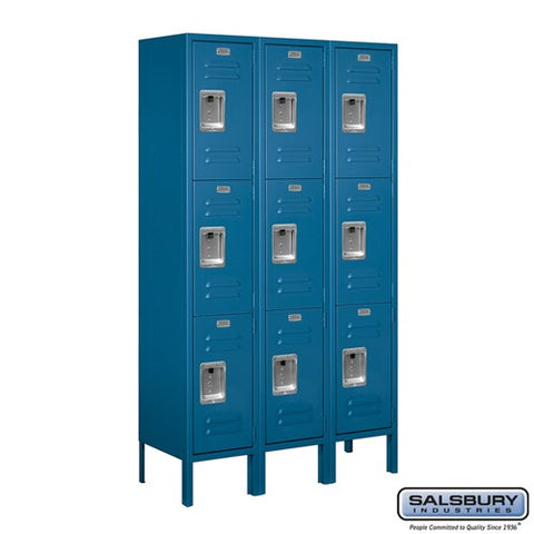 "Salsbury 12"" Wide Triple Tier Standard 5 ft High x 12"" Deep Metal Locker 63352 - USA Safe And Vault"