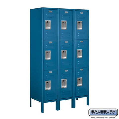 "Salsbury 12"" Wide Triple Tier Standard 5 ft High x 15"" Deep Metal Locker 63355 - USA Safe And Vault"