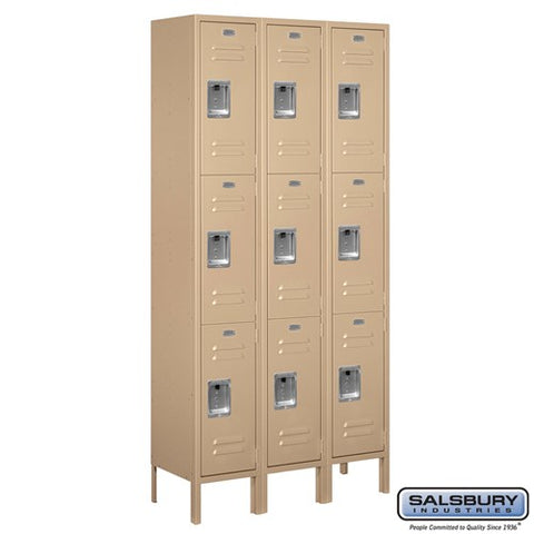 "Salsbury 12"" Wide Triple Tier Standard 6 ft High x 12"" Deep Metal Locker 63362 - USA Safe And Vault"