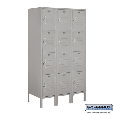 "Salsbury 12"" Wide Four Tier Standard 5 ft High x 18"" Deep Metal Locker 64358 - USA Safe & Vault"