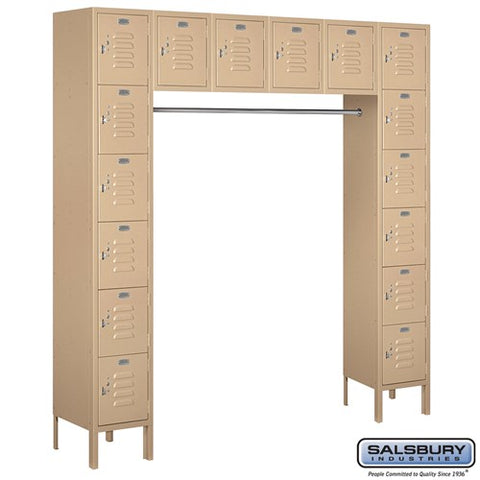 "Salsbury 12"" Wide Six Tier Box Style Bridge Standard 18"" Deep Metal Locker 66016 - USA Safe And Vault"