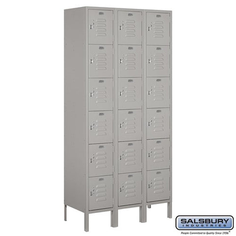 "Salsbury 12"" Wide Six Tier Box Style Standard 6 ft High x 15"" Deep Metal Locker 66365 - USA Safe And Vault"