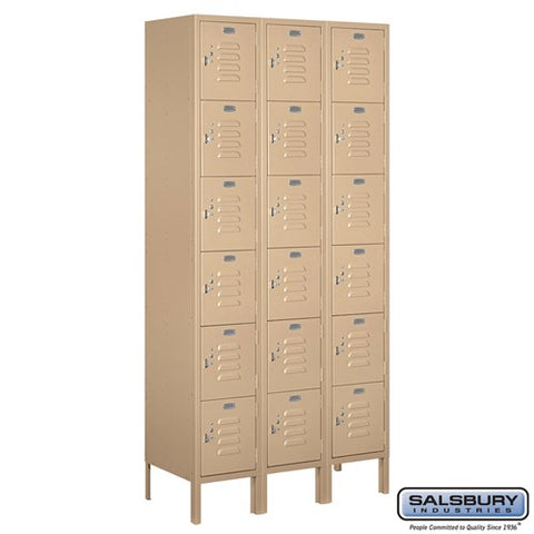 "Salsbury 12"" Wide Six Tier Box Style Standard 6 ft High x 15"" Deep Metal Locker 66365 - USA Safe & Vault"