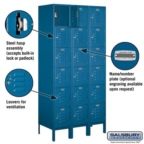 "Salsbury 12"" Wide Six Tier Box Style Standard 6 ft High x 18"" Deep Metal Locker 66368 - USA Safe & Vault"
