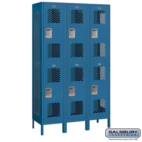 "Salsbury 15"" Wide Double Tier Vented 6 ft High x 18"" Deep Metal Locker 82368 - USA Safe & Vault"