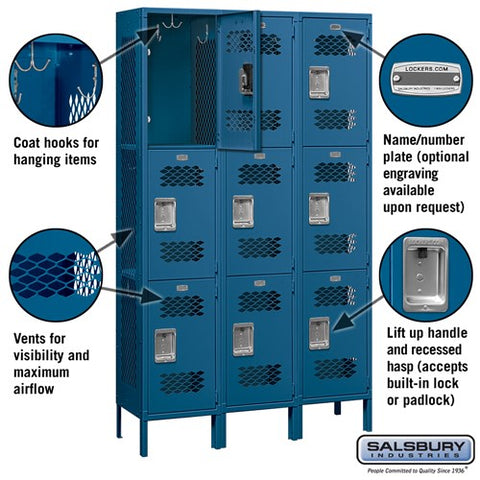 "Salsbury 15"" Wide Triple Tier Vented 6 ft High x 15"" Deep Metal Locker 83365 - USA Safe And Vault"