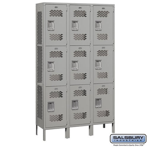 "Salsbury 15"" Wide Triple Tier Vented 6 ft High x 15"" Deep Metal Locker 83365 - USA Safe & Vault"