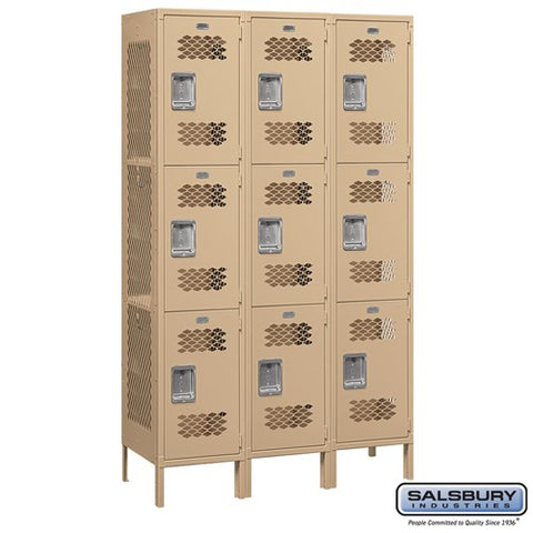 "Salsbury 15"" Wide Triple Tier Vented 6 ft High x 18"" Deep Metal Locker 83368 - USA Safe & Vault"