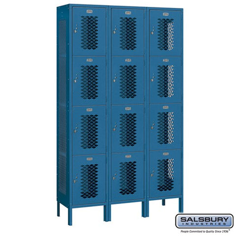 "Salsbury 15"" Wide Four Tier Vented 6 ft High x 15"" Deep Metal LockeR 84365 - USA Safe & Vault"