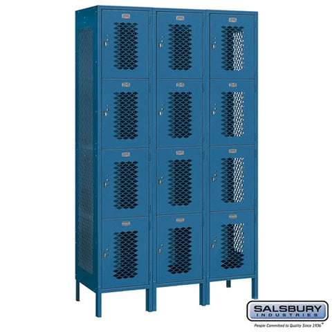 "Salsbury 15"" Wide Four Tier Vented 6 ft High x 18"" Deep Metal Locker 84368 - USA Safe & Vault"