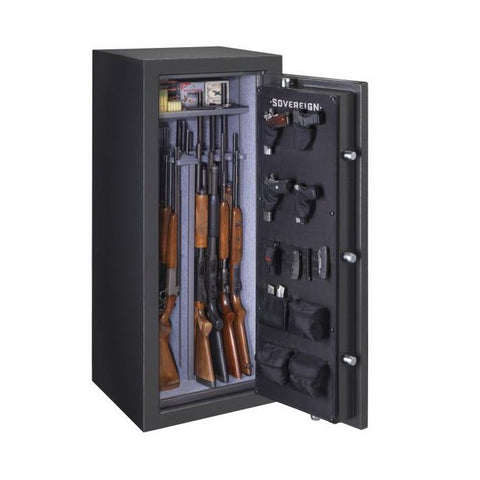 Stack-On Sovereign 22 Gun Capacity Fireproof Gun Safe S-22-DGP-E-S - USA Safe And Vault