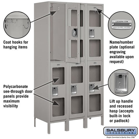 "Salsbury 15"" Wide Double Tier See-Through 6 ft High x 18"" Deep Metal Locker S-52368 - USA Safe And Vault"