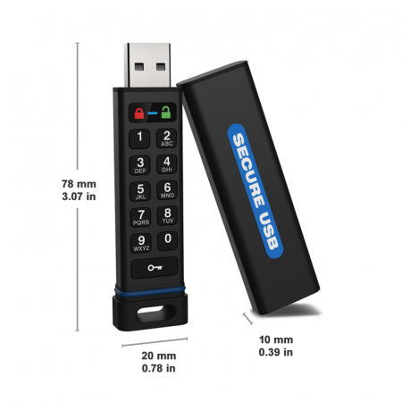 SecureUSB® KP Hardware Encrypted USB Flash Drive - USA Safe & Vault