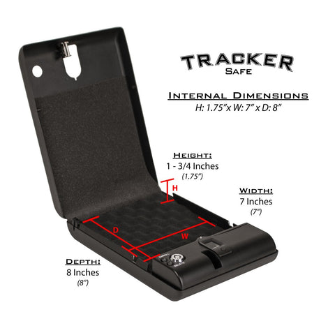 "Tracker SPS-03B - Small Pistol Safe - Biometric Lock - 10.75"" Length, - USA Safe and Vault"