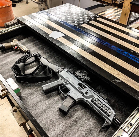 Concealment Safe for Rifles and Handguns - Table with Flag | Made in the USA | PYS711642221 - USA Safe & Vault