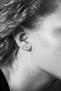 Silver bar ear studs, texture hammered