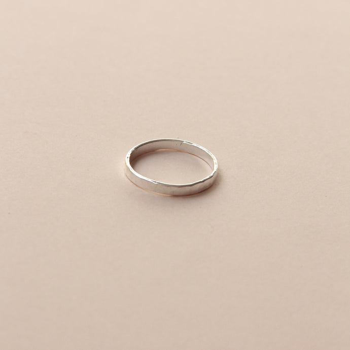 Flat hammered silver ring