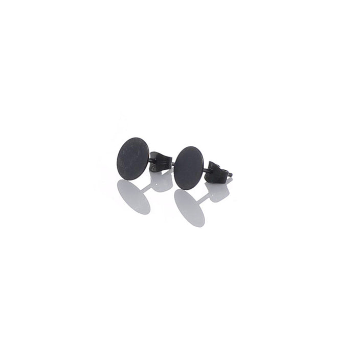 Round small ear studs, dark oxidized