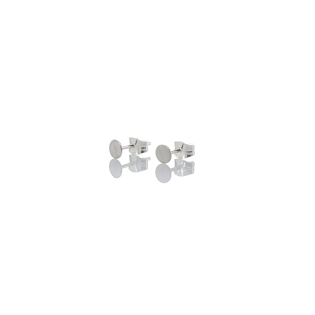 Round tiny ear studs, matte silver