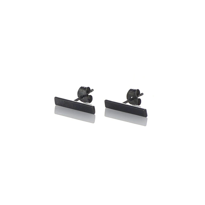 Silver bar ear studs, dark oxidized