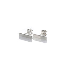 Load image into Gallery viewer, Silver bar ear studs, matte silver