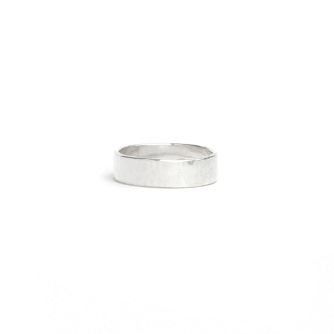 Medium wide hammered silver ring