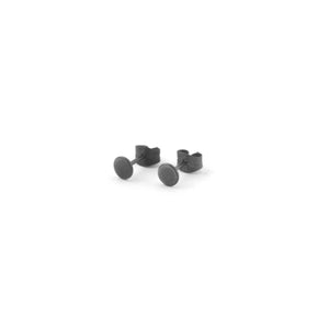 Round tiny ear studs, dark oxidized