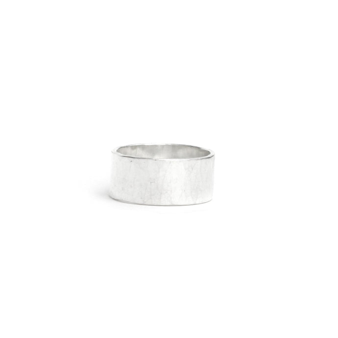 Wide hammered silver ring