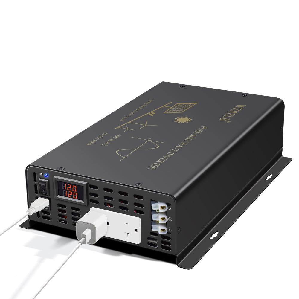 300W DC to AC Power Inverter Pure Sine Wave Inverter 12Vdc, 24Vdc, or 48Vdc  to 120Vac output 60HZ USA Socket