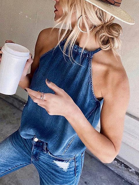 Lace-up Halter Denim Top Vest