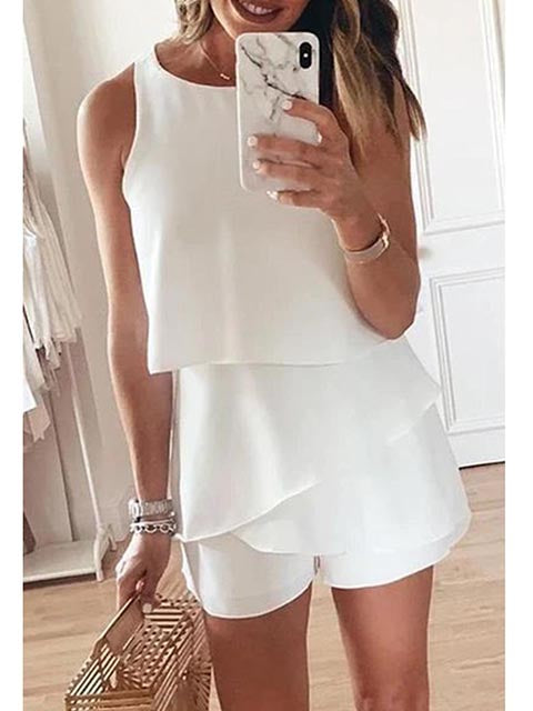 Solid Color Round Neck Ruffle Rompers