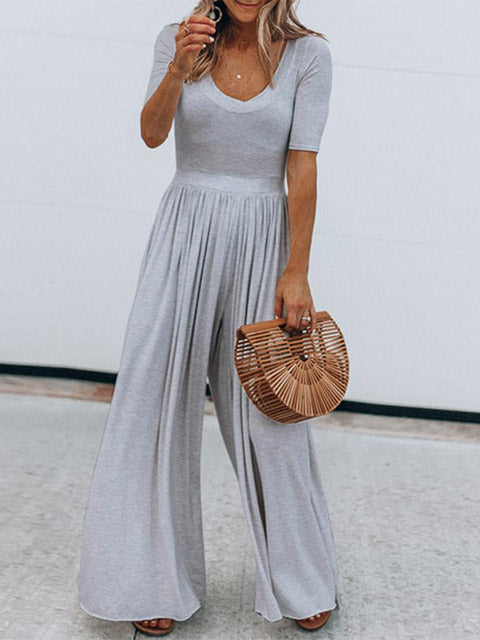 Basic Solid Color Draped Loose Jumpsuit