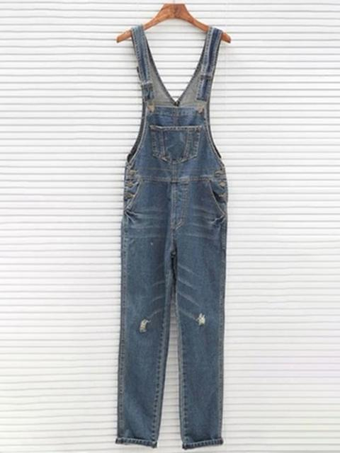 Basic Ripped Denim Overalls