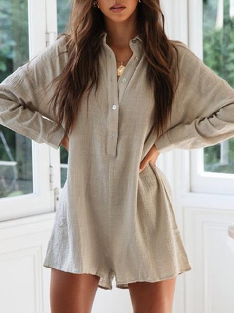 Casual Buttons Design Romper Shorts