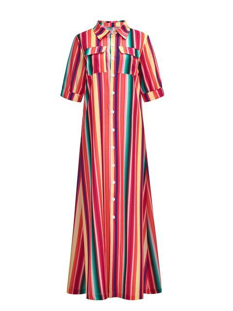 Color Stripe Printed Bohemian Maxi dress