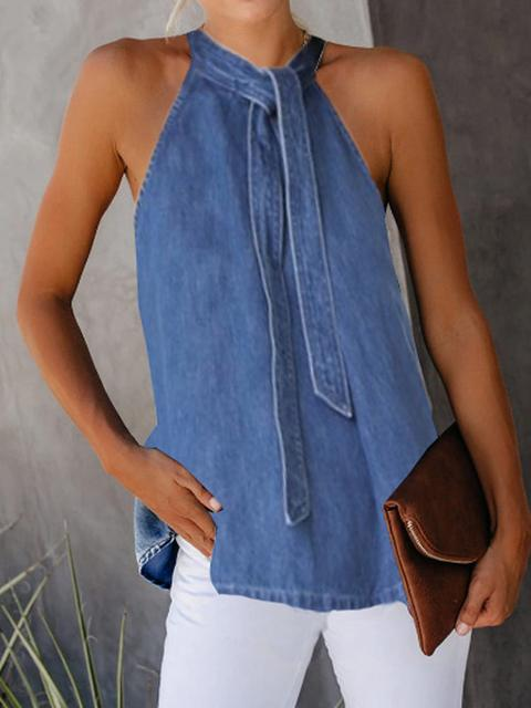 Denim Sleeveless Hanging Neck Camisoles
