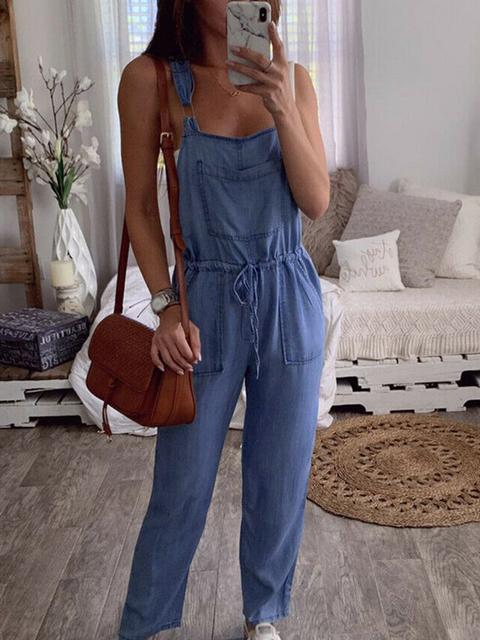 Drawstring Lace-Up Denim Rompers