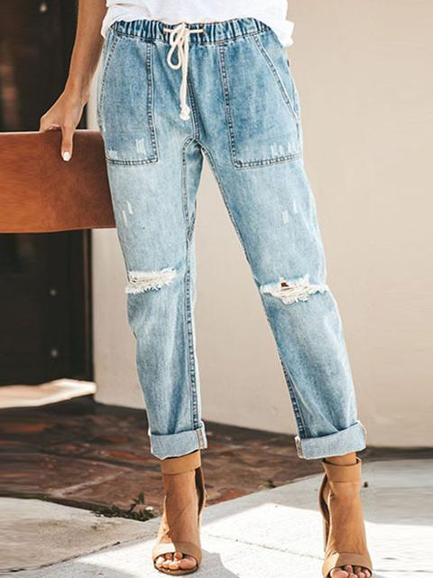 Drawstring Straight Cut Jeans