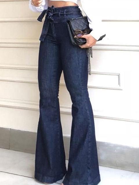 High-Waist Belted Flared Jeans