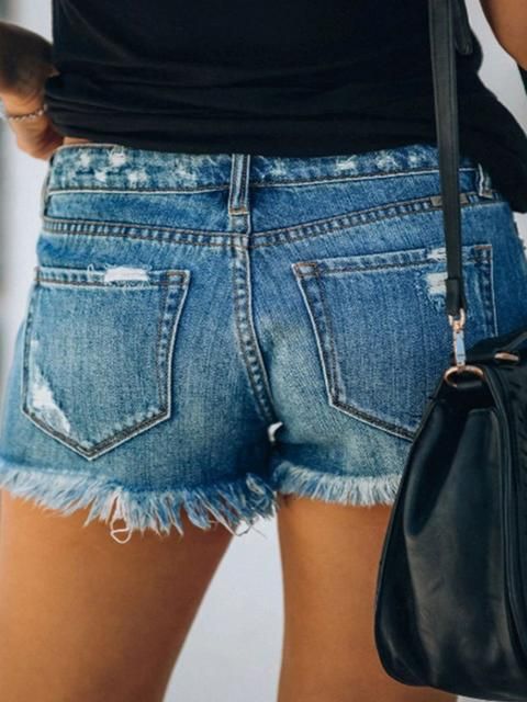 Hole Tassel Single breasted Denim Shorts