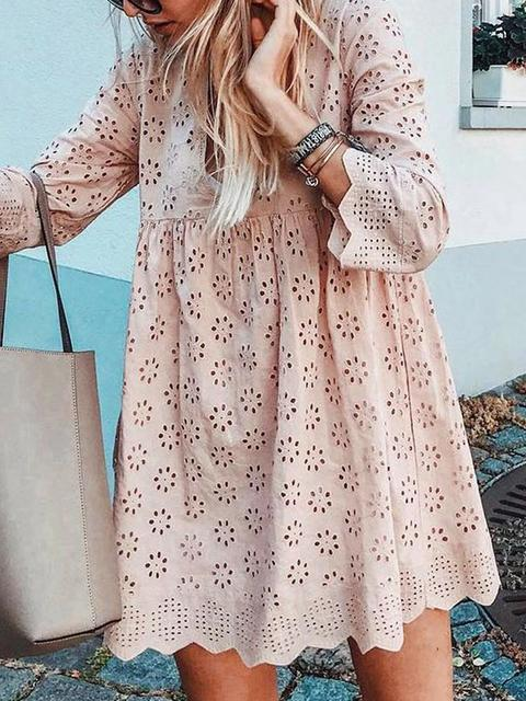 Hollow Lace V-neck Loose Dress