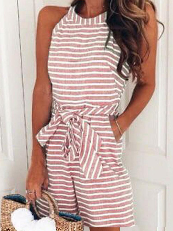 Bow-tie Decoration Striped Loose Romper