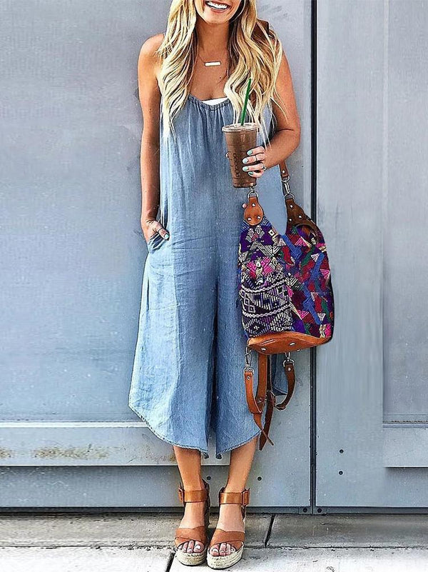 Sleeveless V-neck Wide Leg Denim Jumpsuit