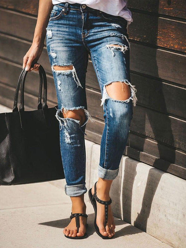 Shredded Stretchy Slim-fit Jeans