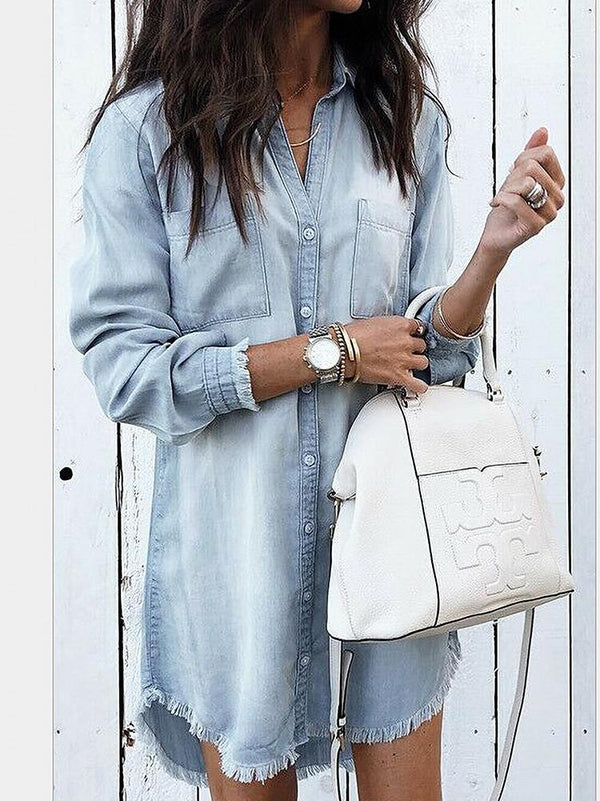 Frayed Denim Buttons Shirt Dress