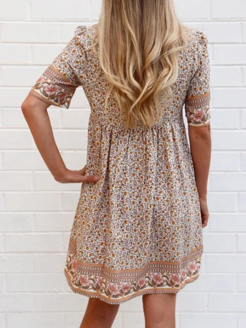 V-neck Vintage Print Tassel Dress