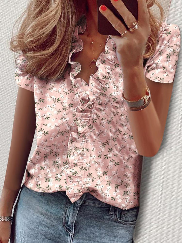 Casual Ruffled V-neck T-shirt
