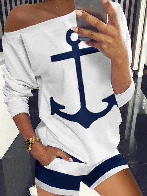 Anchor Print Two-piece Suit