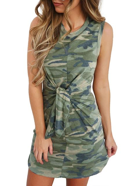 Camouflage Print Tied Up Mini Dress